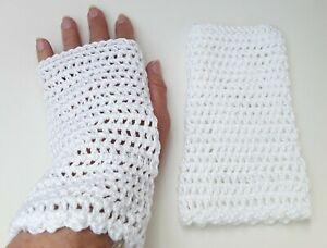 fingerless gloves ladies hand crochet New 100% cotton white lace knit wedding