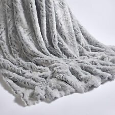 Christmas Xmas Gift Wolf Throw Grey Silver Soft 2 Sizes Large Bed Faux Fur