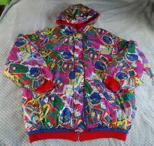 Vintage Esprit Teen Coat Retro Red/Pink/Green/Yellow Slogan Nylon Sz 176 Age 16