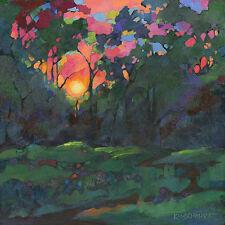 KMSchmidt 12x12 ART PRINT neo-craftsman landscape SUNSET sunrise trees WOODS