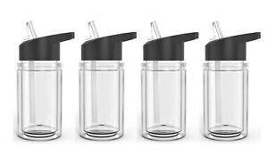 Set of 4 Double Wall Kids Sport Water Bottle 10 Oz With sipper straw