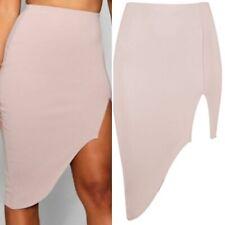 womens boohoo kacy split front asymmetric midi skirt stone size 14