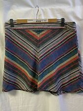Free People Women's Yours Truly Mini Skirt Stripe Size 12 Cotton/Linen So Fun