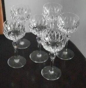 6 Stuart Crystal, hock/wine glasses, signed