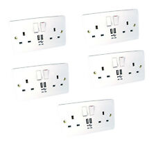 2A USB Wall Socket Fast Charging Ports 2 Gang UK Power Outlets Faceplate 5 Pack