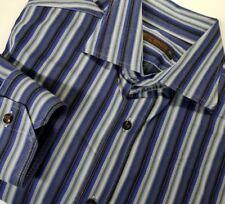 Etro Milano 16.5/42 Men's Spread Collar Dress Shirt Striped Made in Italy Cotton