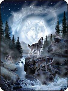 "45"" x 60"" Super Soft Blanket Moon Wolf Blue Throw Plush Faux Fur Fleece Wolves"