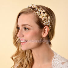 Gold Flower Pearl Tiara Crown Headband Wedding Party Headpiece Hair Accessory