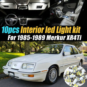 10Pc Super White Car Interior LED Light Bulb Kit for 1985-1989 Merkur XR4Ti