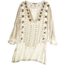 CALYPSO ST BARTH SILK CREPE EMBELLISHED SWIMSUIT COVER UP /TUNIC TOP~XS~WOW