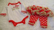 Christmas NEW Nursery Rhyme Outfit Size 0-3 months 3 Piece Set Red SPARKLE TUTU