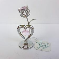 Crystocraft Tulip & Heart Swarovski Crystal Tabletop Figurine