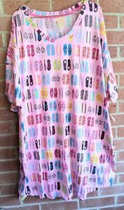 New Pink Summer Flip Flop Recycled Nightgown Sleepshirt 2X - 3X 20-24W Pockets