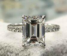 Elegant 3.00 Ct Emerald Cut Diamond Solitaire Engagement Ring H,VS2 GIA 14K WG