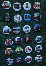 "24 x BUS BADGES 25mm 1"" PIN BUTTON  LOVE BUSES TRANSPORT  LONDON BUS SPOTTERS"