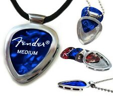 PICKBAY guitar pick holder pendant necklace w Leather cord Rock Star Style!