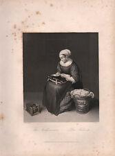1850 stampa ~ il needlewoman ~ Caspar Netscher