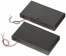 2X 8 AA 2A Cells Battery Compartment 12V Clip Holder Box Case with Switch Black