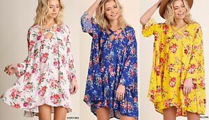 UMGEE Floral Print Mini Summer Tunic Dress Long Sleeve Strappy Boho Gypsy Hippie