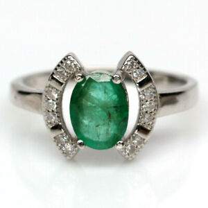NATURAL 6 X 8 mm. GREEN EMERALD & WHITE CZ 925 STERLING SILVER RING SZ 7
