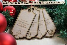 Personalised Christmas Tree Stocking Present Label Tag Wood Decoration UK MADE