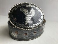 Vintage Tooled Leather EAGLE Western Black Belt and Buckle Size 40 Made in USA