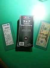 Clear Plastic Top Load Currency Protector, Pouch, Holder (Also holds Tickets)