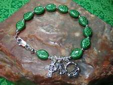 "IRISH Shamrock CELTIC Claddagh ROSARY Bracelet with Celtic Cross 7.5"""