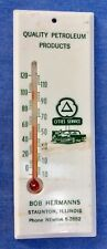 vintage •CITIES SERVICE• Staunton IL old Gas oil pump Station sign •THERMOMETER•