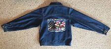 Harley Davidson Motor Cycles Kids Jean Jacket Size L Button Up GUC Blue Denim