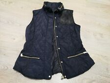 Zara Navy Black Faux Leather Hooded Quilted Gilet Vest Body Warmer Zip L 10 12