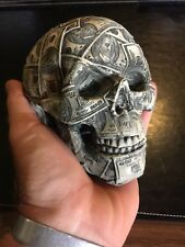 $100 Hundred Dollar Bill Skull Desk Paperweight Man Cave Home Office Work