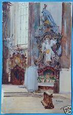 Aquarell Gemälde Kirche St. Alexander u. Theodor Ottobeuren Prof. R. Lipps ~1920