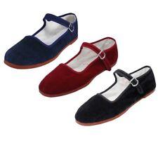 Women's Chinese Classic Mary Jane Velvet Shoes Blue Maroon Black Sizes 35-41 New