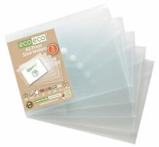 5 x A5 PRESS STUD WALLETS POPPER PLASTIC DOCUMENT FILE WALLETS CLEAR STRONG ECO