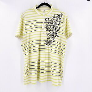 Chico's Zenergy Golf Womens Size 4 Collared Striped Shirt 1/2 Zip Sparkle