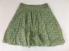 Talbots skirt 10P floral blue green full a-line pleated lined knee-length