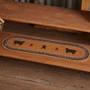 """VHC Brands Primitive 8.5""""x27"""" Sheep Stair Tread Yellow Stenciled Floor Decor"""