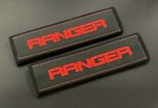 Ford Ranger truck Black Seat Belt Shoulder Pads Covers Red embroidery 2PCS