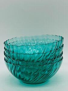 Vintage Arcoroc France Marine Green Blue Aqua Turquoise Swirl Glass Bowl 1 Bowl