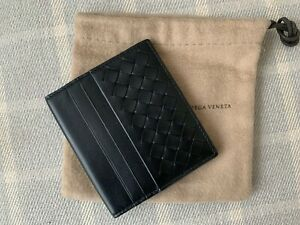 AUTHENTIC BOTTEGA VENETA INTRECCIATO Black Weave Leather Bi-fold Wallet : NEW