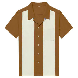 Mens Charlie Sheen Bowling Shirts Western Cowboy Stripe Shirts