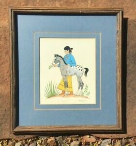 Navajo Harrison Begay YOUNG WOMAN WITH SPOTTED PONY Signed Framed Silkscreen