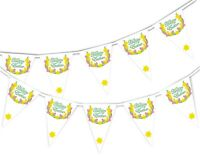 Happy Easter - Daffodil on White - Bunting Banner 15 flags by PARTY DECOR