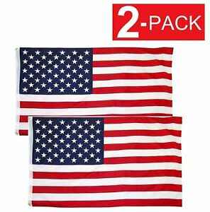 2x3 American Flag w/ Grommets USA United States of America US Flags 2 Pack