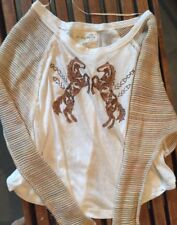 We The Free People Ivory/lace 3/4 Sleeve Tee Top Cotton Stretch Sz S