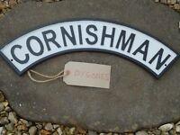 CORNISHMAN Steam Train Cast Iron Plaque Metal Sign/Railway/ Cornwall Rail/ Sale