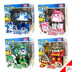 Robocar Poli Deluxe Big Transforming Transformer Robot 4pcs Poli Roy Amber Helly