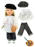 """Artist Costume Smock Jeans For 14.5"""" Wellie Wishers American Girl Doll Clothes"""