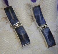 "Vintage Sodalite 1 1/4"" Dangle 0.925 Sterling Silver Post Earrings"